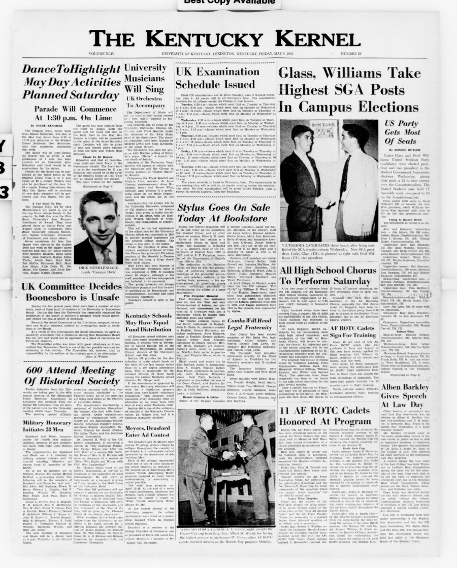 Campus Owls to be at UK, 5-8-53, p1